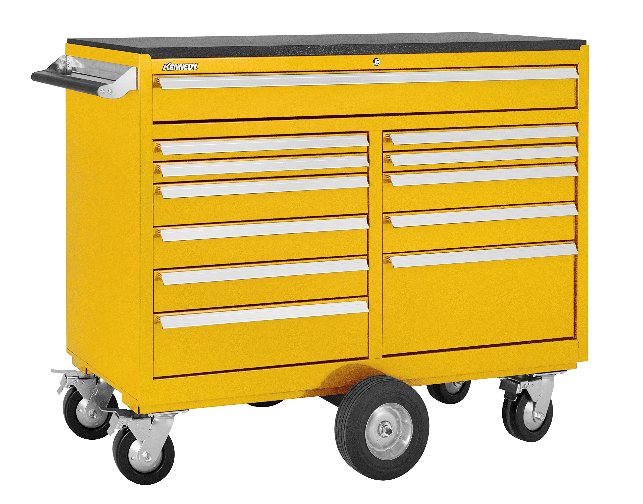 Kennedy Manufacturing 5300MPYW 53'' 12-Drawer Maintenance Pro Double-Bank Rolling Tool Cabinet, Workstation with Chest and Wheels, Industrial Yellow