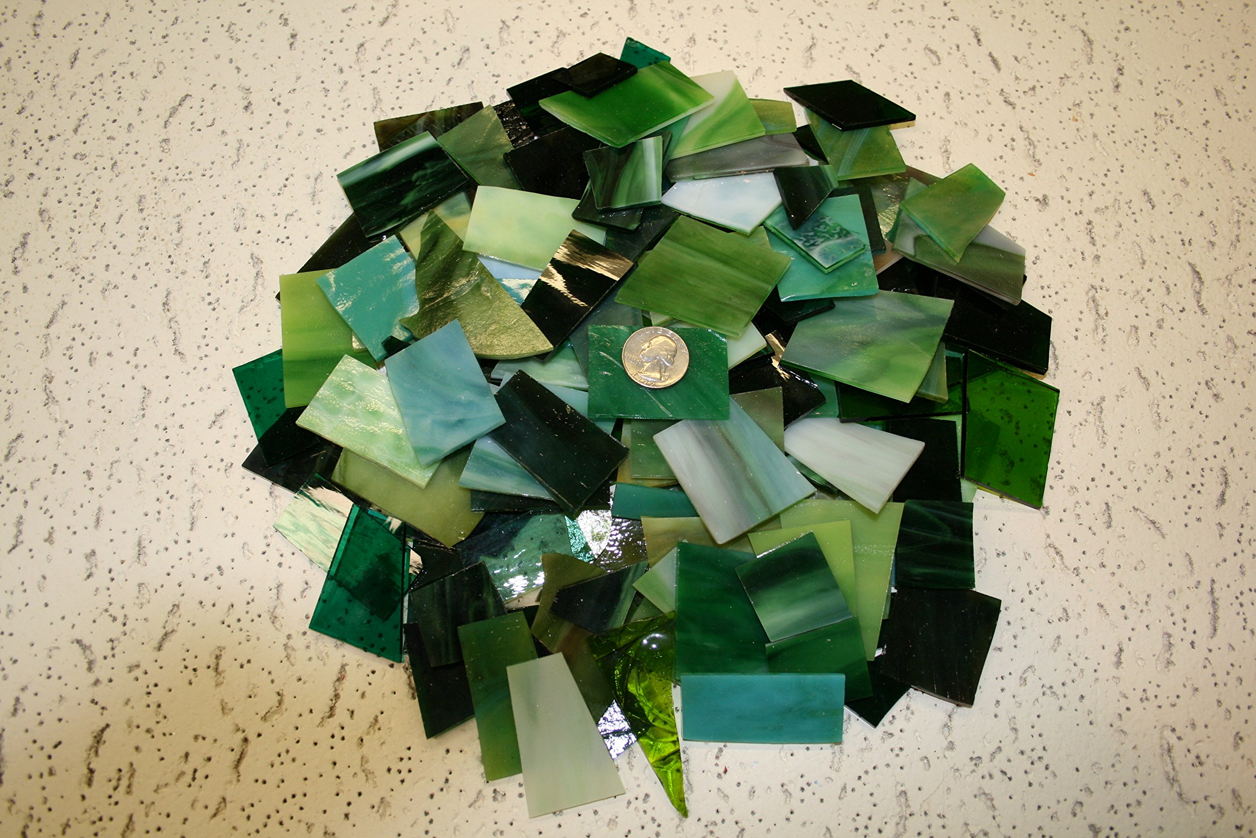 Green Tones Mix Value Pack - Stained Glass / Mosaics (3 Pounds) by Stallings Stained Glass