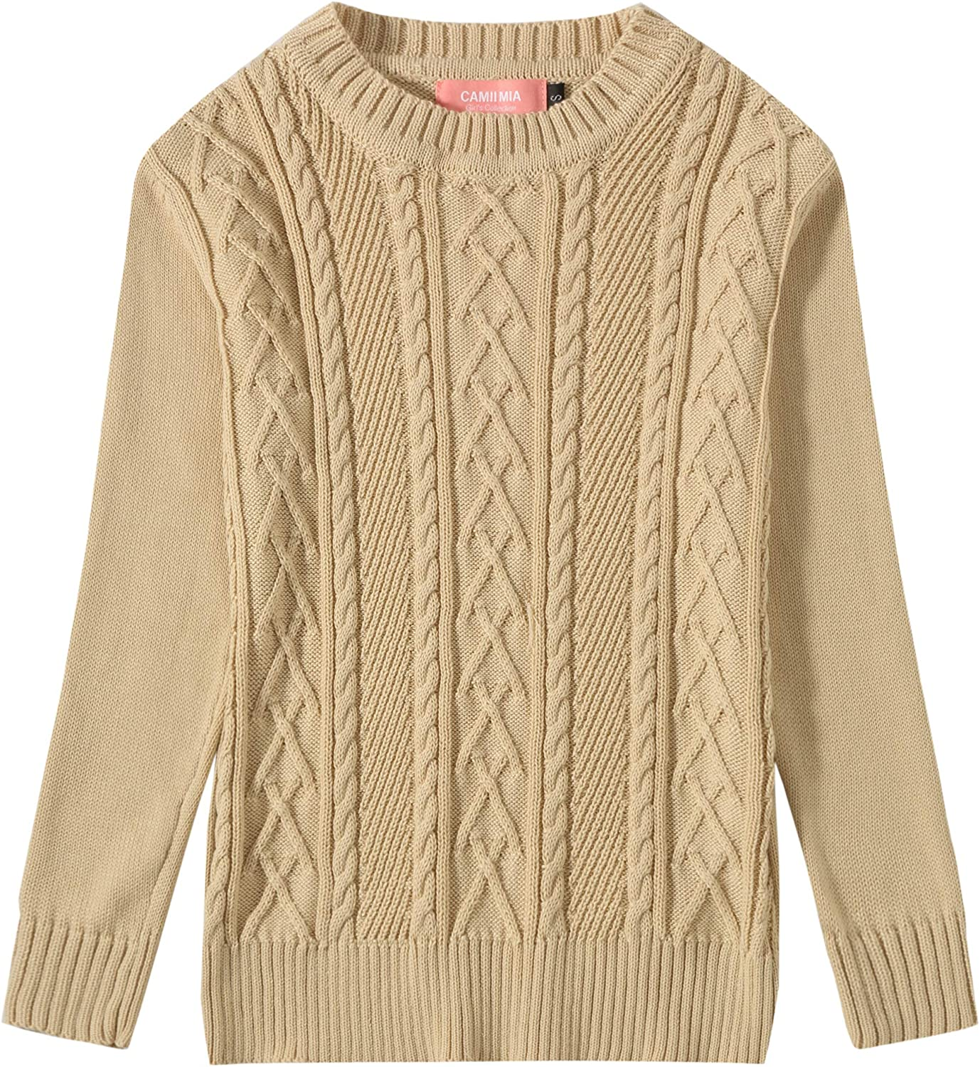 Camii Mia Big Girls Long Sleeve Pullover Knitted Crewneck Cable Sweater