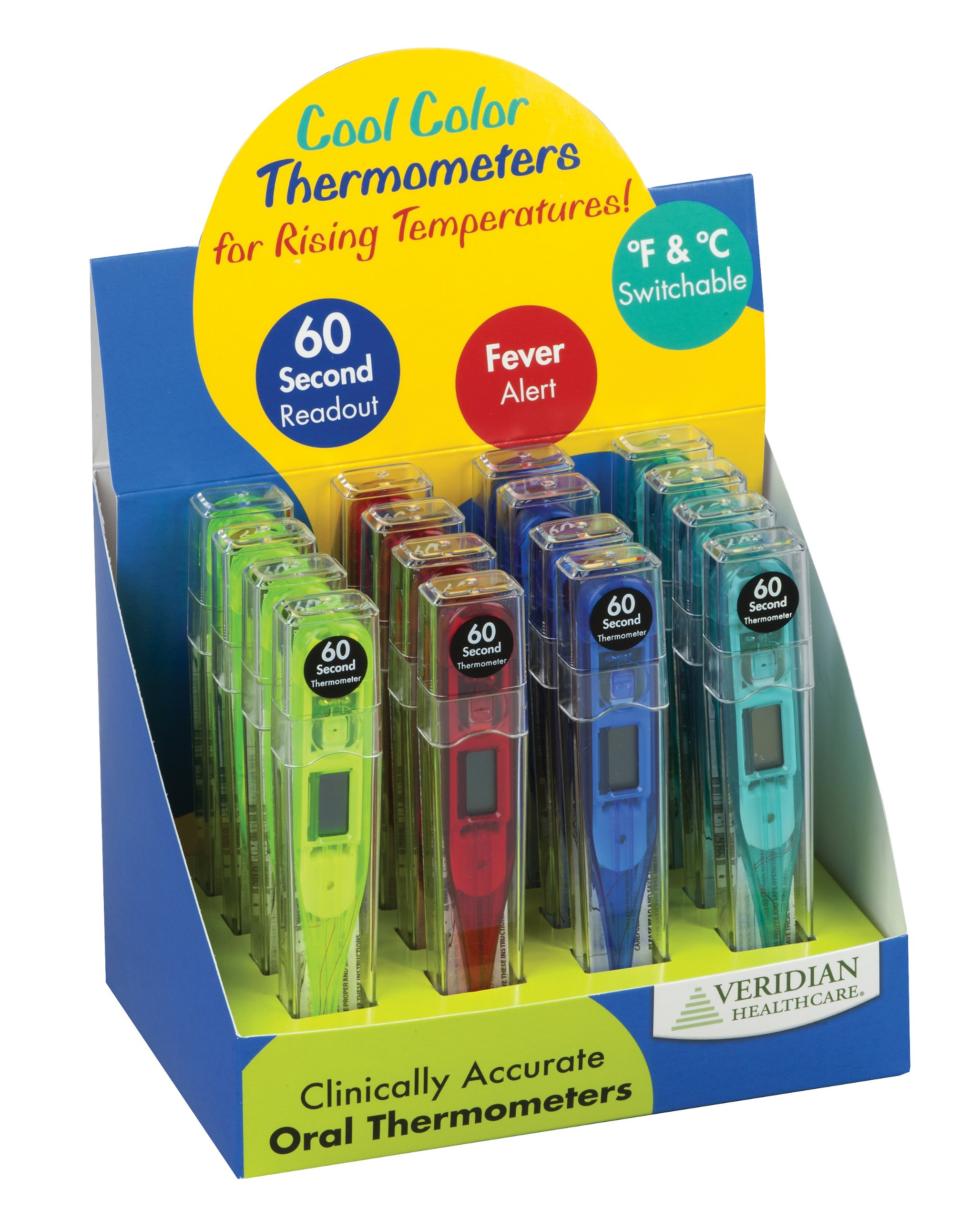 Veridian Healthcare 08-301VC Cool Colors Digital Thermometer Display, Blue, Green, Red and Yellow