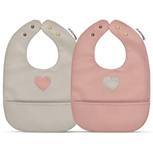 Vegan Leather Water Resistant Baby Bibs with Practical Pocket and Snaps - Set of Super Cute Soft Vegan Leather Bibs - Great for Feeding and Teething Infants Babies and Toddlers 8 - 24 Months