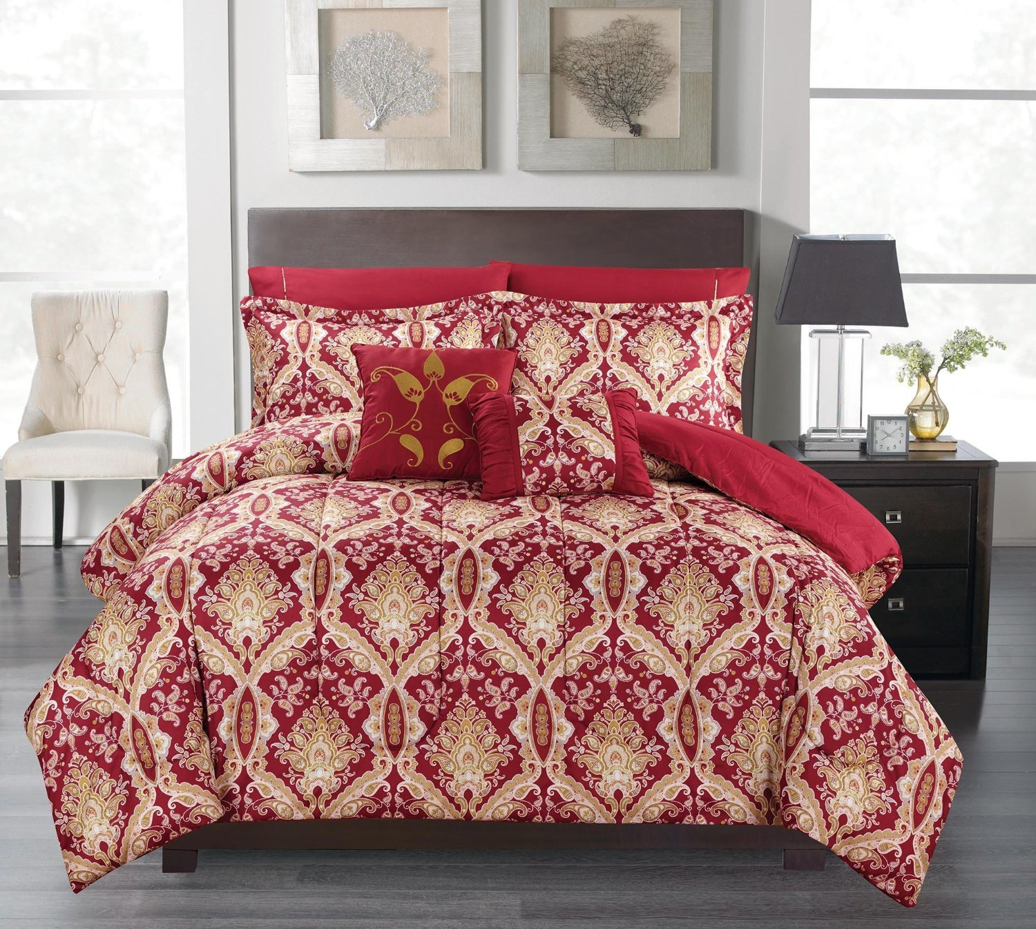Reversible 7 Pcs Comforter Set, Queen Size, Russian Burgundy