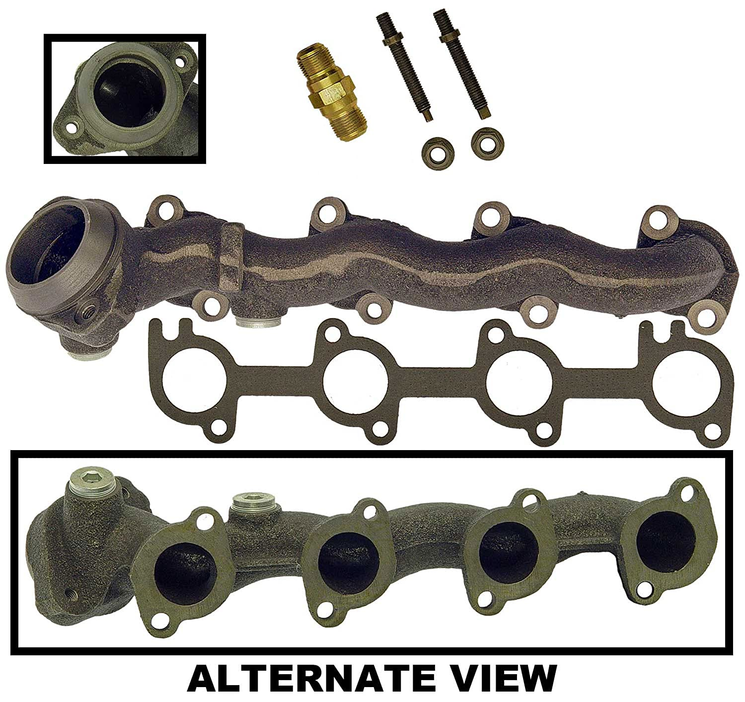 Amazon com apdty 785518 exhaust manifold w egr tube connector f65z9f485aa gasket for 1997 1998 ford f150 f250 expedition 4 6l replaces replaces f65z