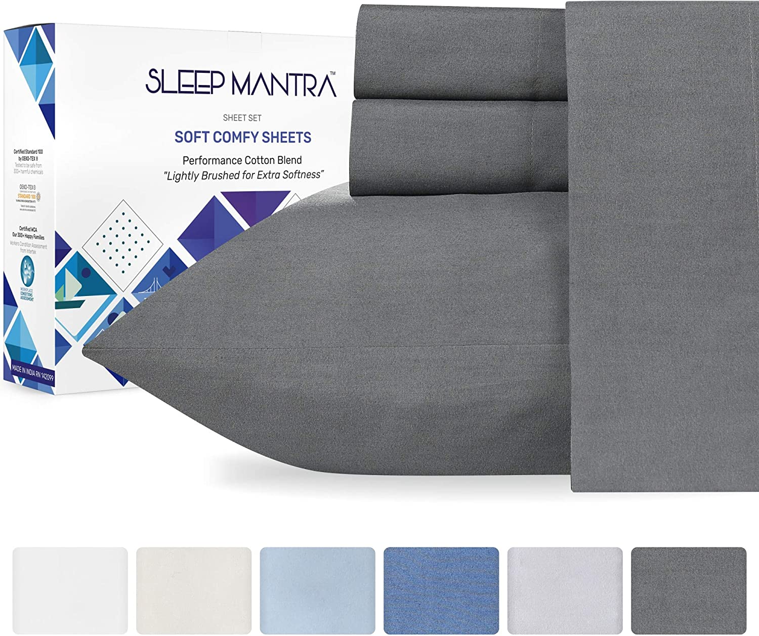 King Bed Sheets Dark Gray - 4 Piece Cotton Rich Comfortable Sheet Set, Smooth Percale Weave Bedding, Elasticized 15 Inch Deep Pocket Fits Low Profile Foam and Tall Mattresses