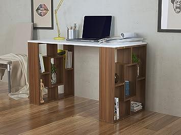 Homidea nova bureau pour ordinateur blanc noyer amazon
