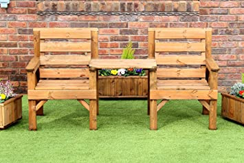 Charmant WOODEN GARDEN FURNITURE PATIO TWIN SET 2 CHAIRS + REMOVABLE TRAY JACK + JILL  STRAIGHT