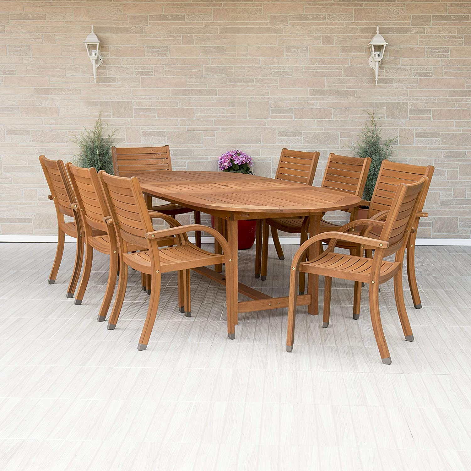 Amazon com amazonia arizona 9 piece oval outdoor dining set eucalyptus wood durable and ideal for patio and backyard light brown garden outdoor