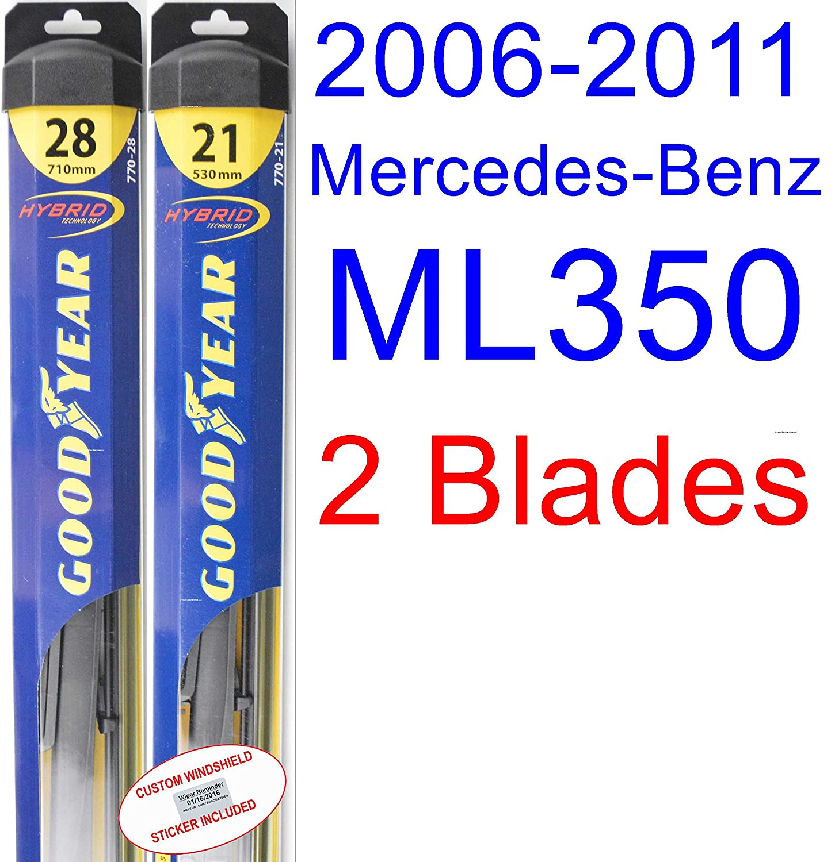 Amazon.com: 2006-2011 Mercedes-Benz ML350 Replacement Wiper Blade Set/Kit (Set of 2 Blades) (Goodyear Wiper Blades-Hybrid) (2007,2008,2009,2010): Automotive