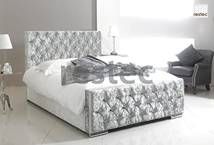 Amazon.com: Florida Upholstered silver crush velvet bed frame in ...