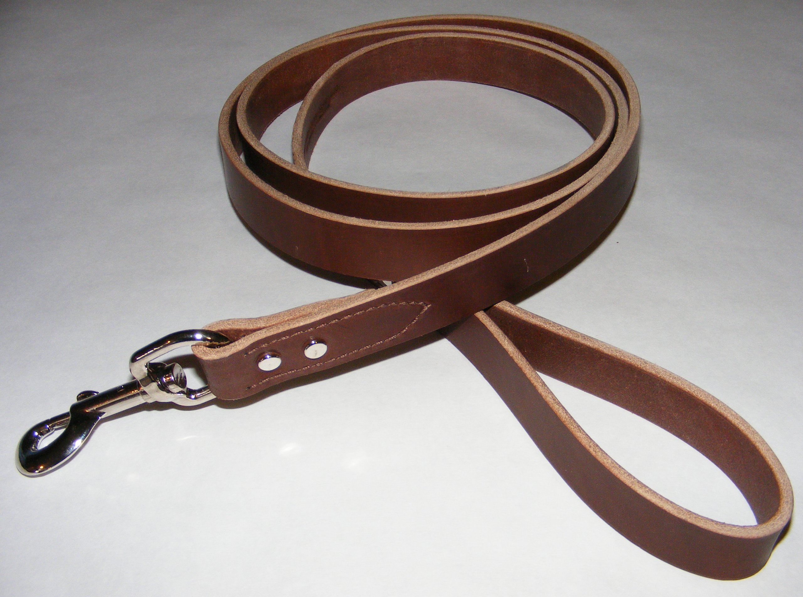 Punk Hollow, Leather Dog Leash, Dog Training Leash, 6ft X 1in Brown and Nickel ~ - Amish Made