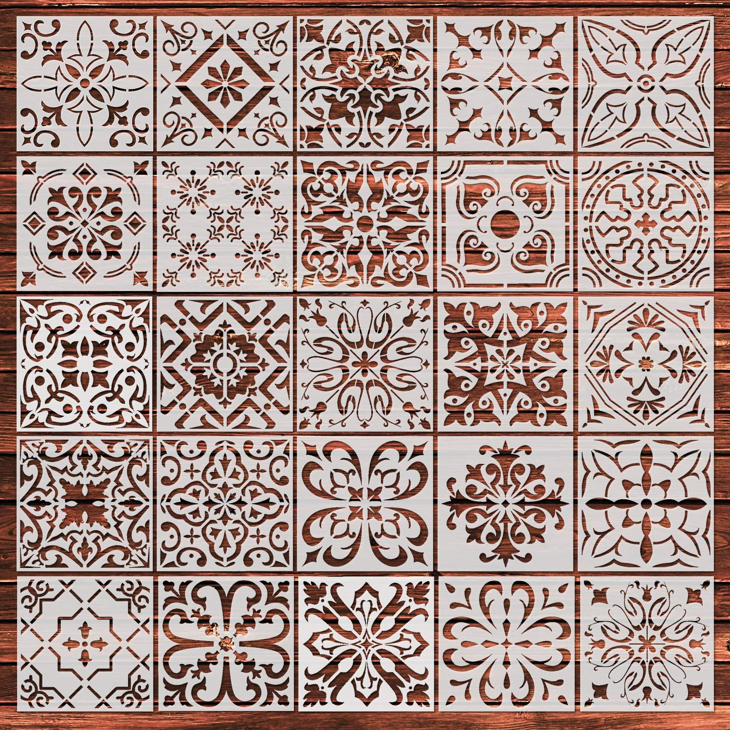 YUEAON 25-Pack (6x6 Inch) Painting Stencils for Floor Wall Tile Fabric Wood Burning Art&Craft Supplies Mandala Template-reuseable by YUEAON
