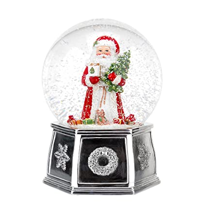 spode christmas tree musical santa snow globe large - Large Christmas Snow Globes
