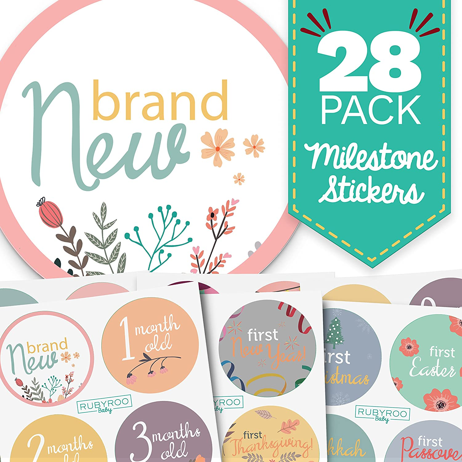 Amazon gifts baby products toy banks keepsakes gift monthly baby stickers huge 28 pack of baby girl onesie belly stickers includes 12 negle Images