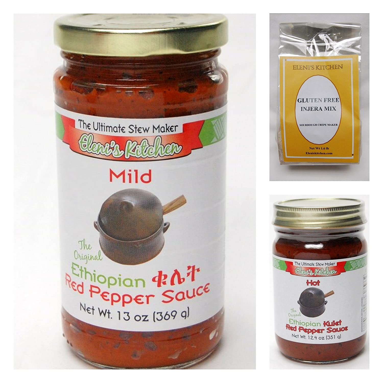 Eleni's Ethiopian Gluten Free Sampler Pack - 2 Jars Sauce, 1 Injera Mix