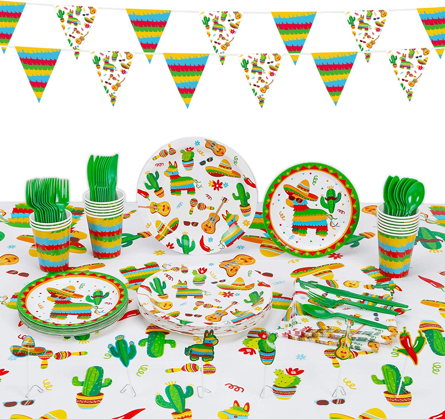 Decorlife Fiesta Party Supplies, 130PCS for 16 Guests, Mexican Party Decorations for Birthday, Taco Plates, Fiesta Napkins, Cups, Mexican Tablecloth, Cupcake Toppers, Triangle Flags Bunting, Flatware Included