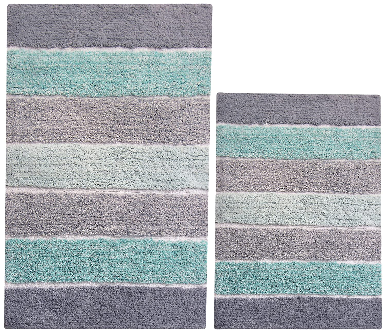 Chardin home - 100% Pure Cotton - 2 Piece Cordural Stripe Bath Rug Set, (21''x34'' & 17''x24'') Mint Green with Latex Spray Non-Skid Backing