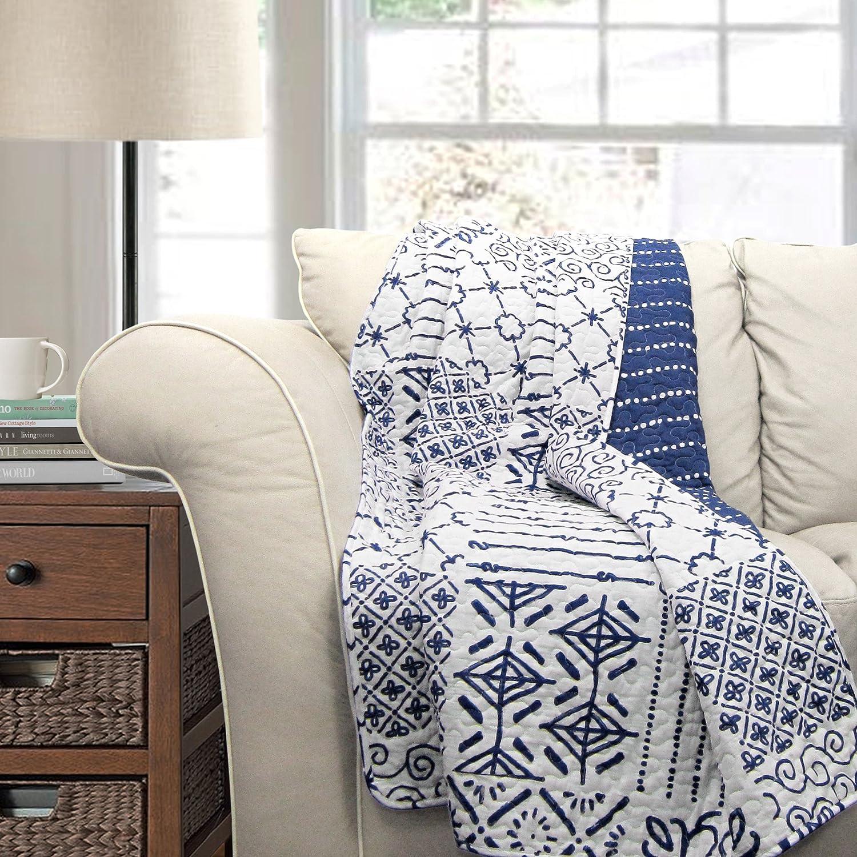 Lush Decor Monique Throw, 50 x 60-inch, Blue, 50 by 60
