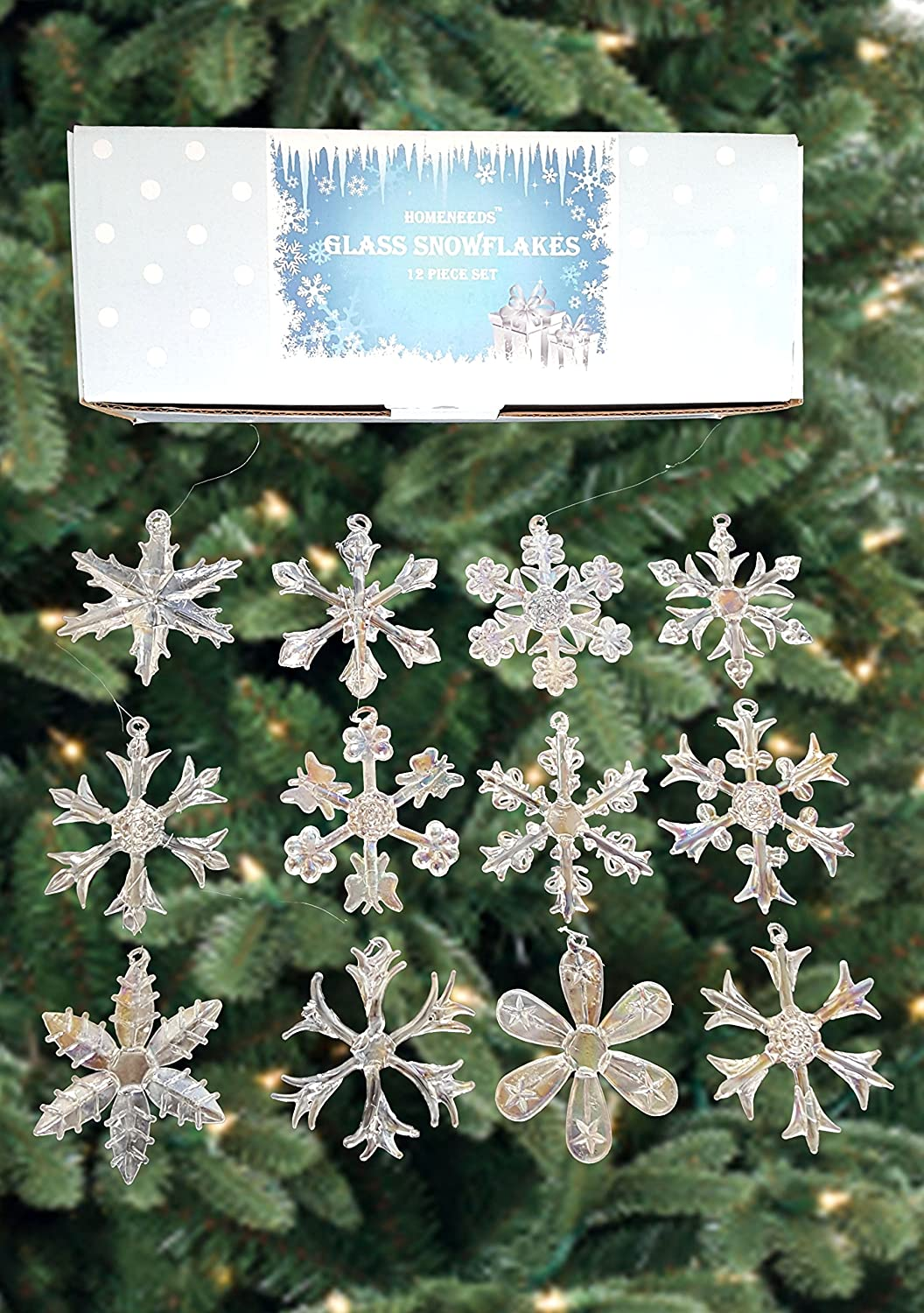 Glass 2.5- inch Assorted Shapes Snowflake Ornaments Set of 12