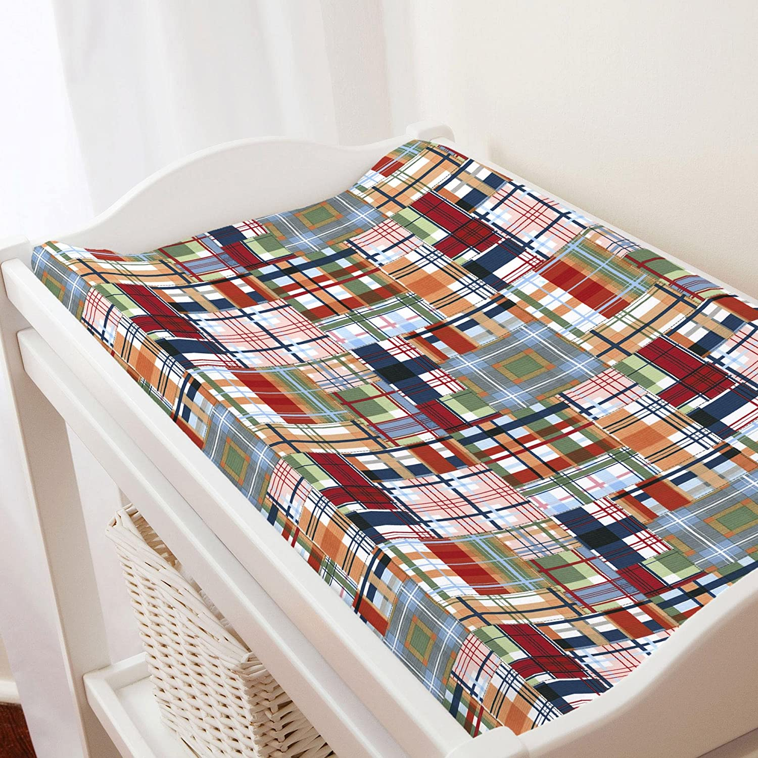 Carousel Designs Patchwork Plaid Changing Pad Cover by Carousel Designs   B00L88VJXK
