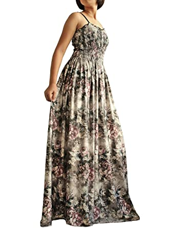 d99c2d158fe Women Maxi Long Party Dress Regular Medium Summer Boho Strapy Classic Pale  Vintage Look Floral (