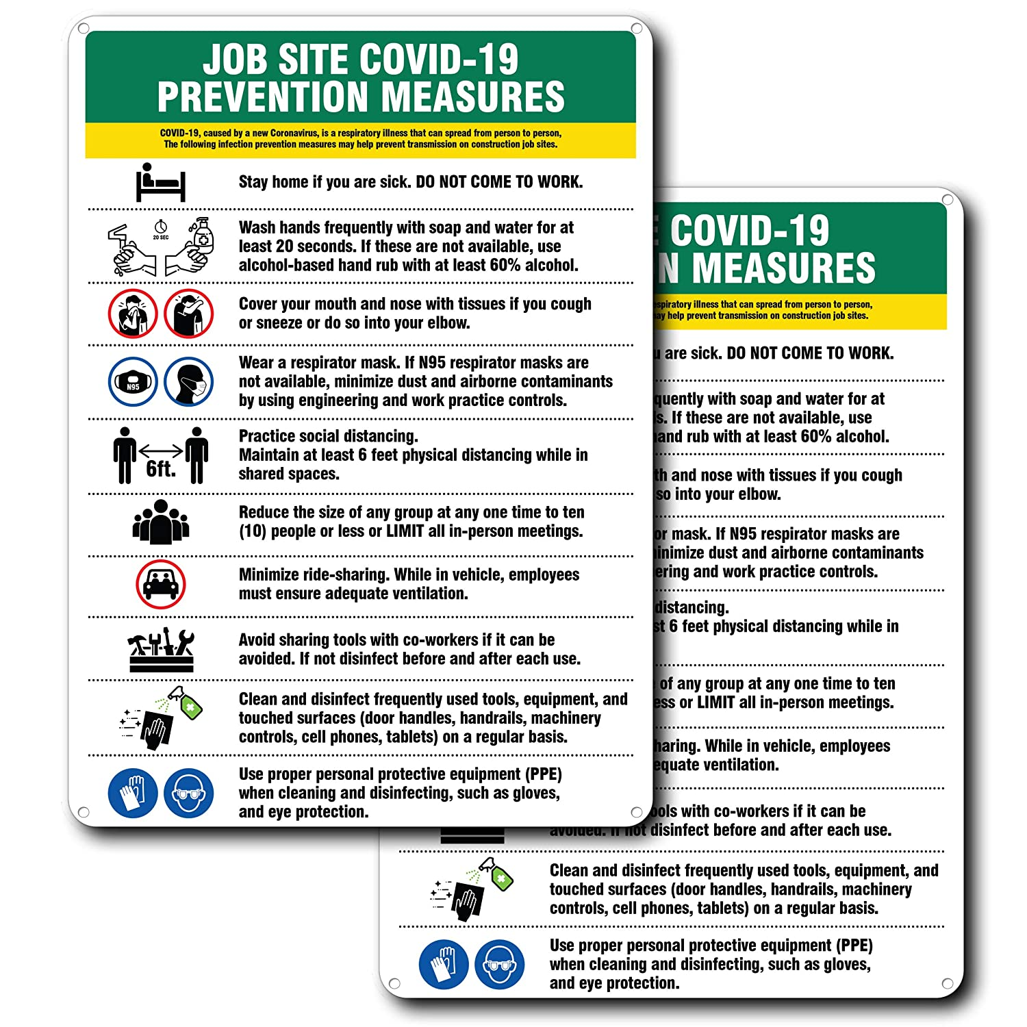 "COVID 19 Job Site Prevention Measures Sign - for Indoor or Outdoor Use - 2 Signs for Safety - Hard Plastic - Durable Plastic with Holes - Stay Home - 6 Feet Apart – Coronavirus - Covid19 – 10"" x 7"""