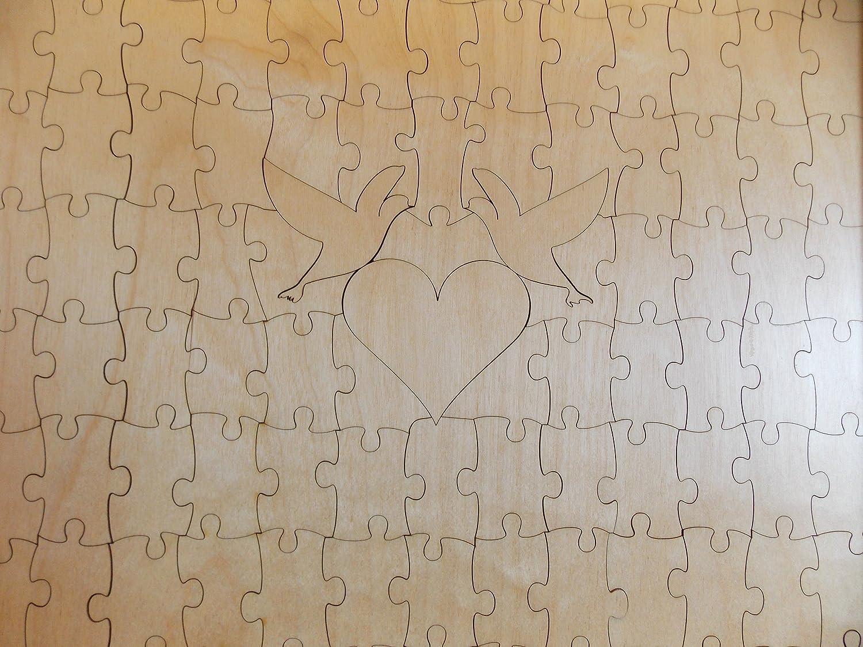 Amazon.com: Wedding Guest Book Alternative Wood Puzzle Classic Style ...