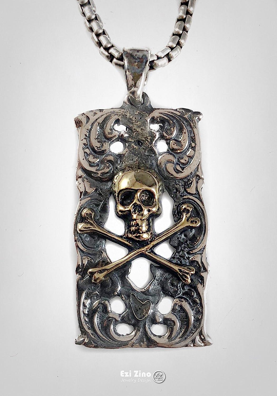 SILVERLAND1 Pirate Skull Brass /& Solid Sterling Silver 925 Pendant by Ezi Zino