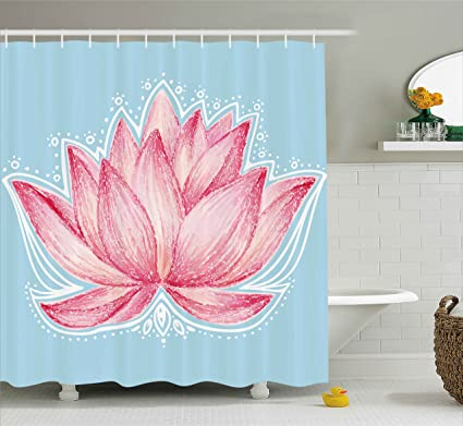 Ambesonne Lotus Shower Curtain Gardening Theme Illustration Of A Flower Pattern Botanical Design Artwork