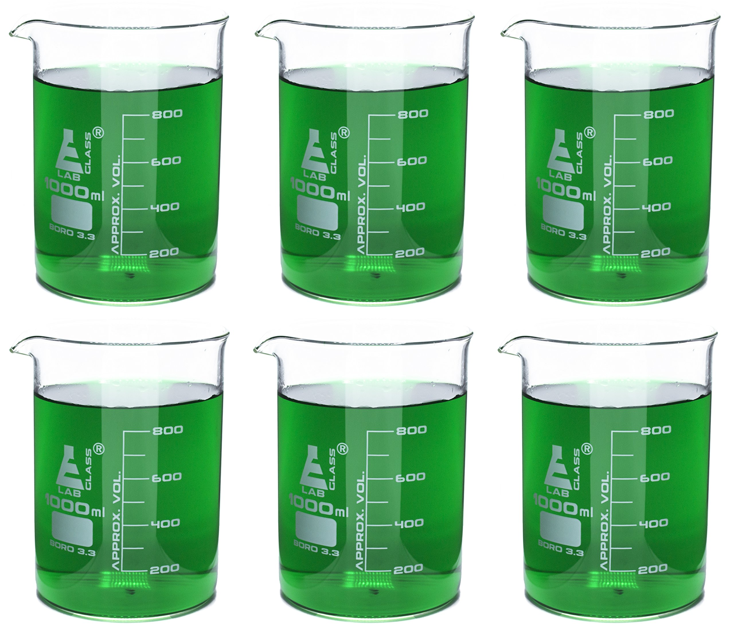 Eisco Labs Beaker - 1000mL, Borosilicate Glass, 100mL graduation Low form - Pack of 6