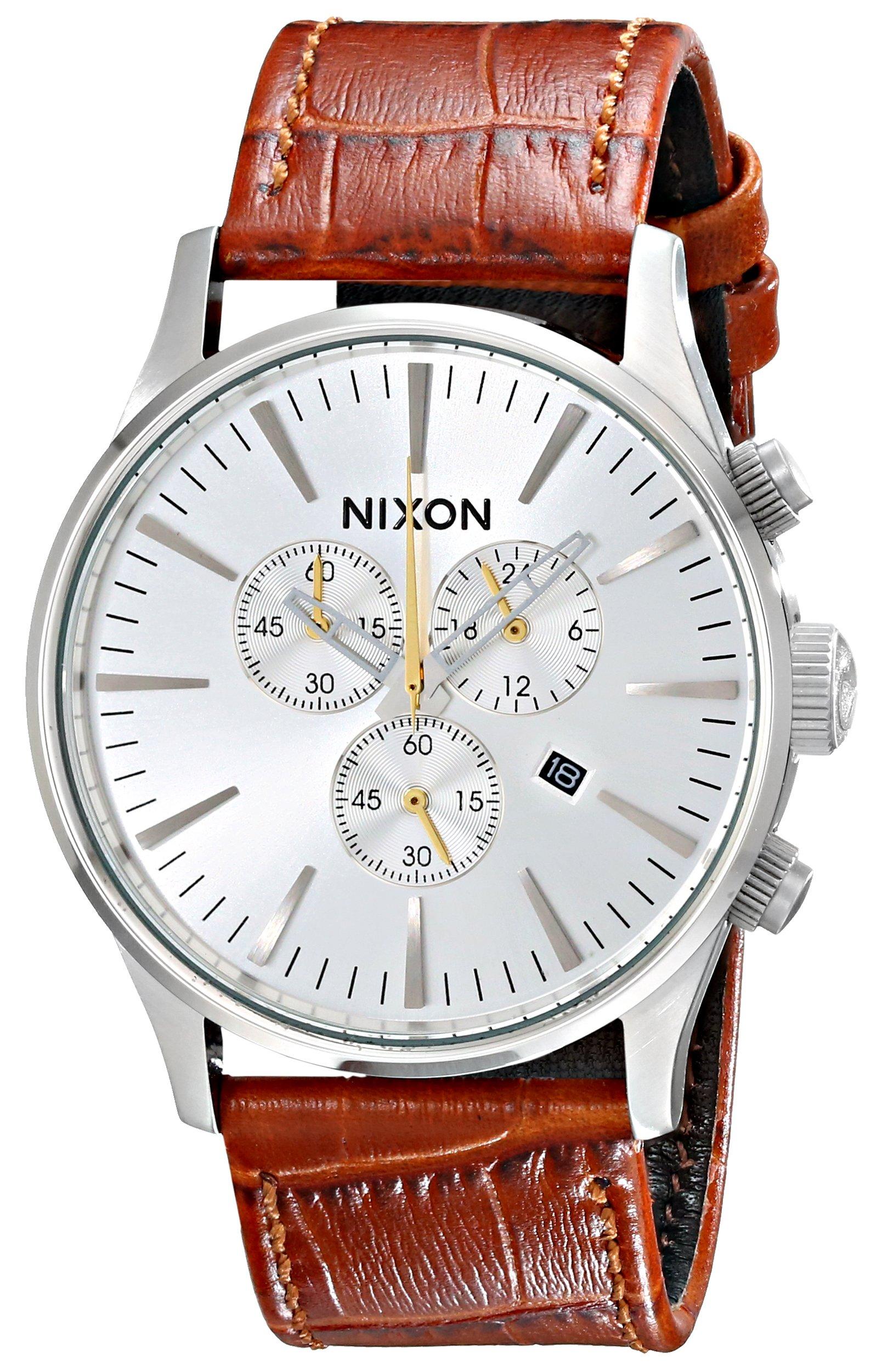 Nixon Men's A4051888 Sentry Chrono Leather Watch
