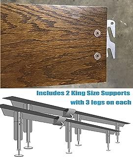 "product image for Vaughan-Bassett King 82"" Medium Oak Hook-On Wooden Bed Rails w/Metal Support System. Set of Two. Includes Metal King Support System"