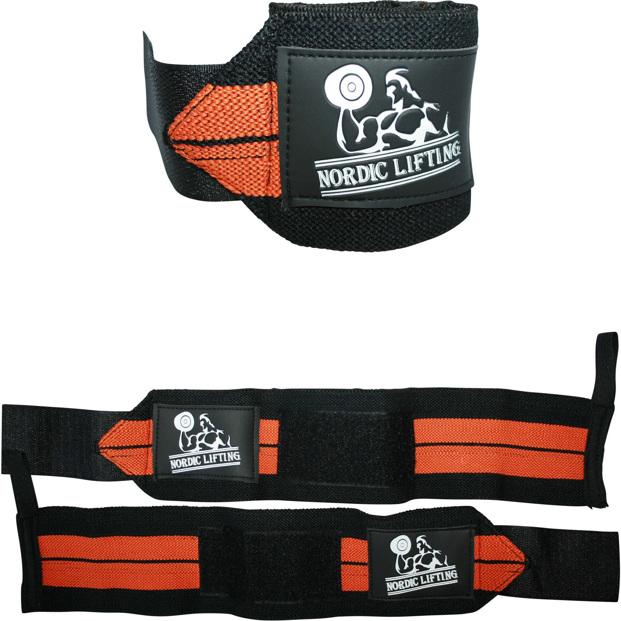 Wrist Wraps (1 Pair/2 Wraps) for Weightlifting/Cross Training/Powerlifting/Bodybuilding-Women & Men-Premium Quality Equipment & Accessories Avoid Injury During Weight Lifting-(Orange)-1 Year Warranty by Nordic Lifting