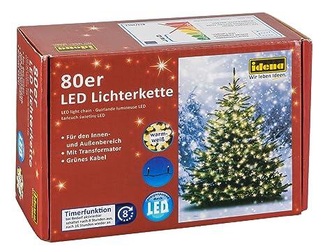 Idena 8325058 - LED Lichterkette mit 80 LED in warm weiß, mit 8 Stunden Timer Funktion, für Partys, Weihnachten, Deko, Hochze
