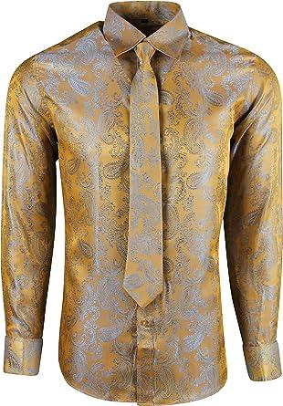 Dominic Stefano Mens Satin Shiny Silk Feel Smart Casual Dress Wedding Casual Shirt 422
