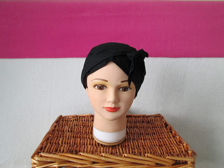 Foulard, turban chimio, bandeau pirate au féminin uni noir