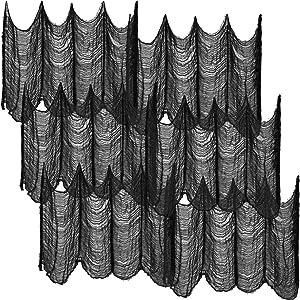 6 Pieces Black Halloween Creepy Cloth, 30 x 72 Inch Spooky Cloth Creepy Gauze Decoration Halloween Scary Cloth for Drape Doorways Wall Entryways Halloween Theme Decor
