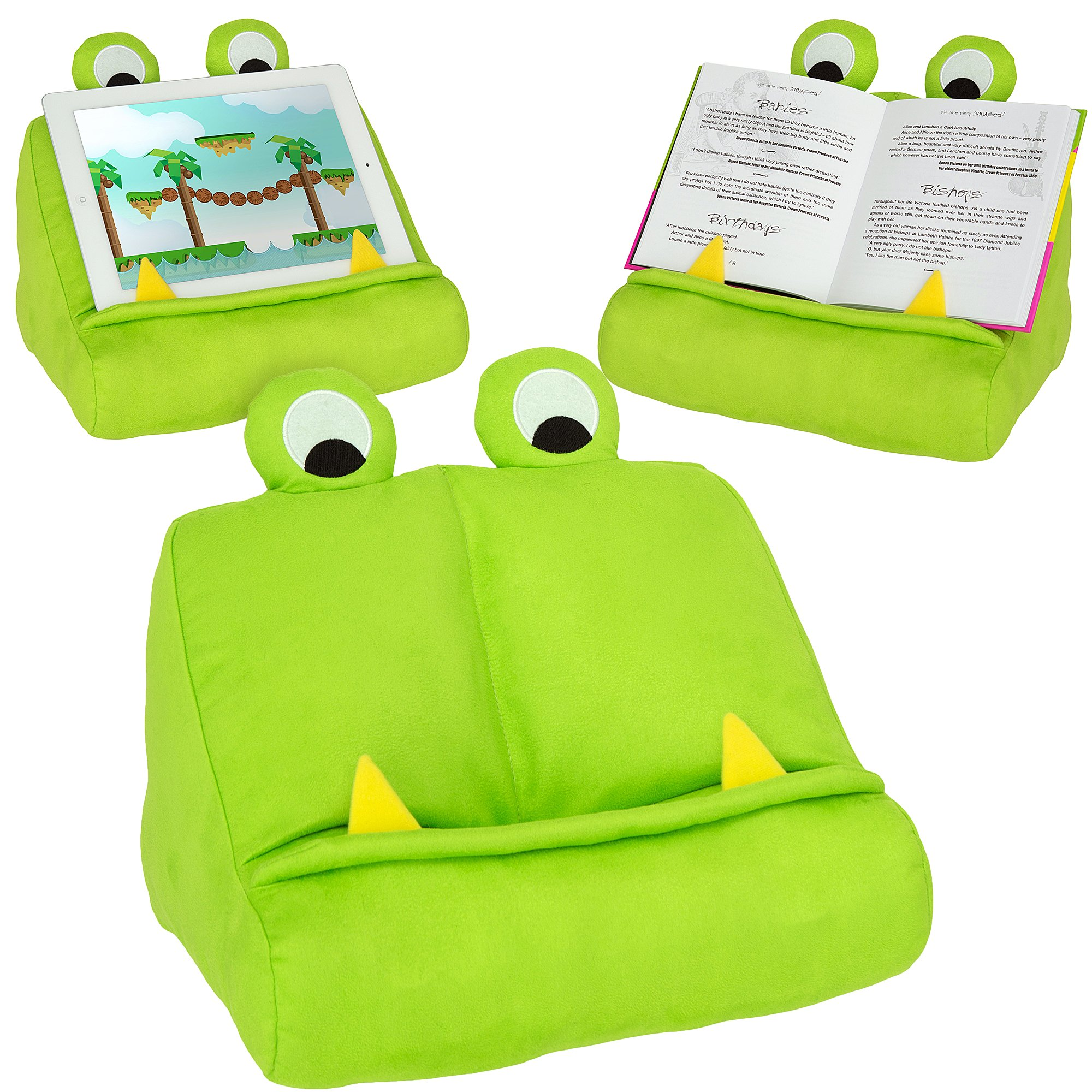 Kids iPad Stand & Book Holder. Tablet Rest for Lap & Reading in Bed for Children of All Ages – Green