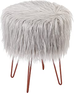 BIRDROCK HOME Silver Faux Fur Foot Stool Ottoman – Soft Compact Padded Seat - Living Room, Bedroom and Kids Room – Hair Pin Metal Legs Upholstered Decorative Furniture Rest – Vanity Seat