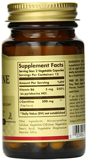 Amazon.com: Solgar L-Carnitine Vegetable Capsules, 250 mg, 30 Count: Health & Personal Care