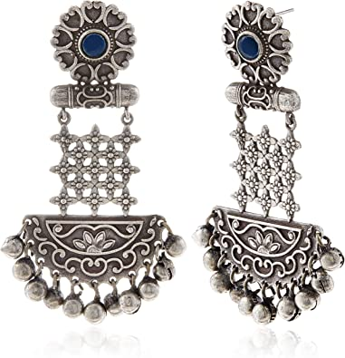 Zephyrr Earrings Carved Oxidized Finish Silver Tone Dangle With Red /& Green Bead For Women//Girls