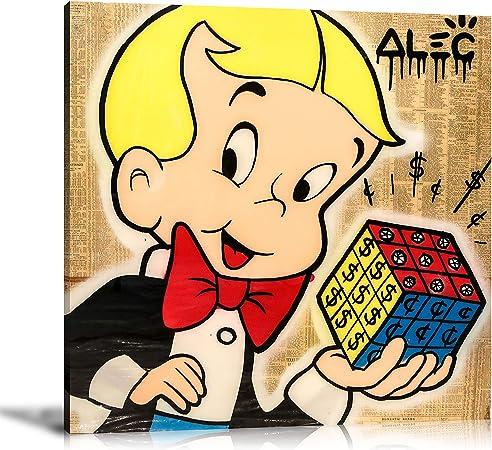 Pinturas al óleo de Alec Monopoly, pintadas a Mano, decoración de Pared para el hogar, Arte sobre Lienzo, Cubo de Rubik de 24 x 24 Pulgadas, sin Marco: Amazon.es: Hogar