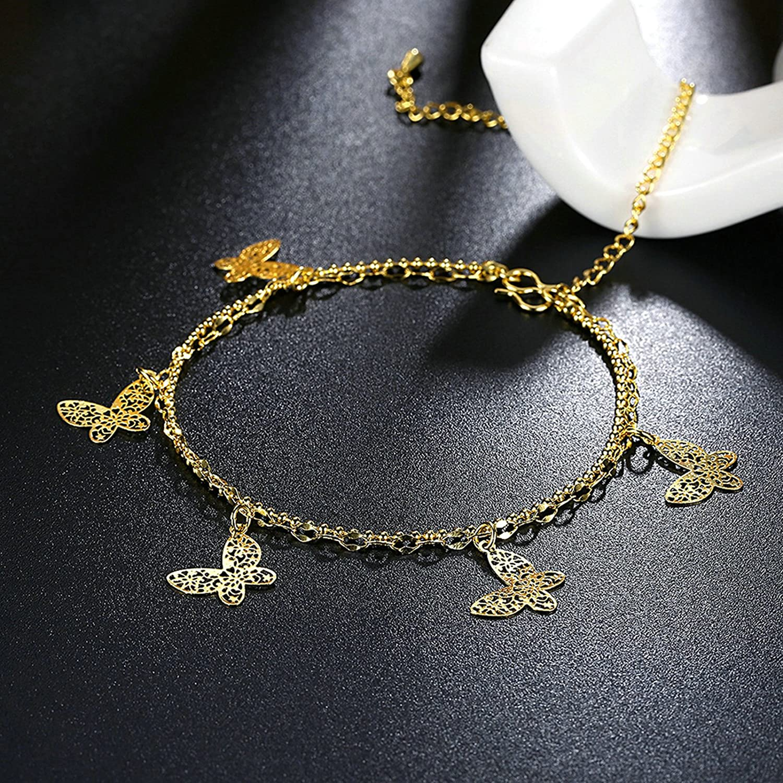 Bishilin Charm Anklet for Women Butterfly Multi Strand Anklet Adjustable 1.2 cm