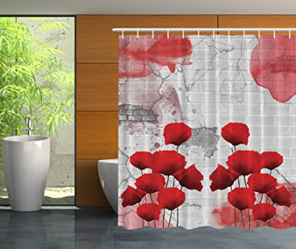 Merveilleux Ambesonne Poppies And Bricks Abstract Art Modern Decor Bathroom Poppy  Flower Gray Decorations For The Home