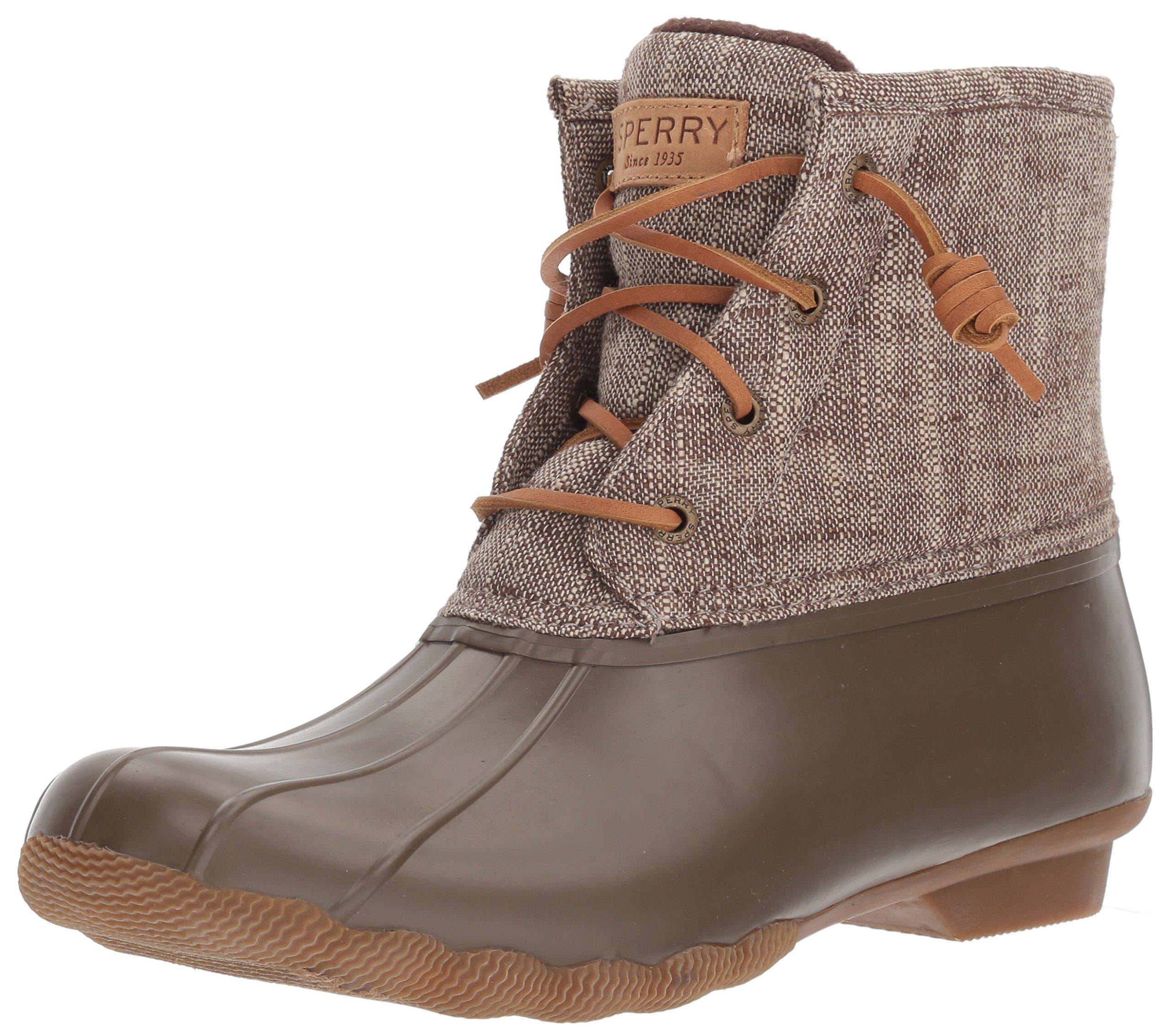 Sperry Top-Sider Women's Saltwater Heavy Linen Rain Boot, Olive, 12 Medium US