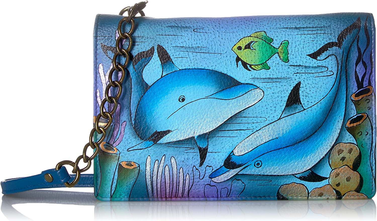 Anna by Anuschka Hand Painted Leather Two Fold Wallet On a String