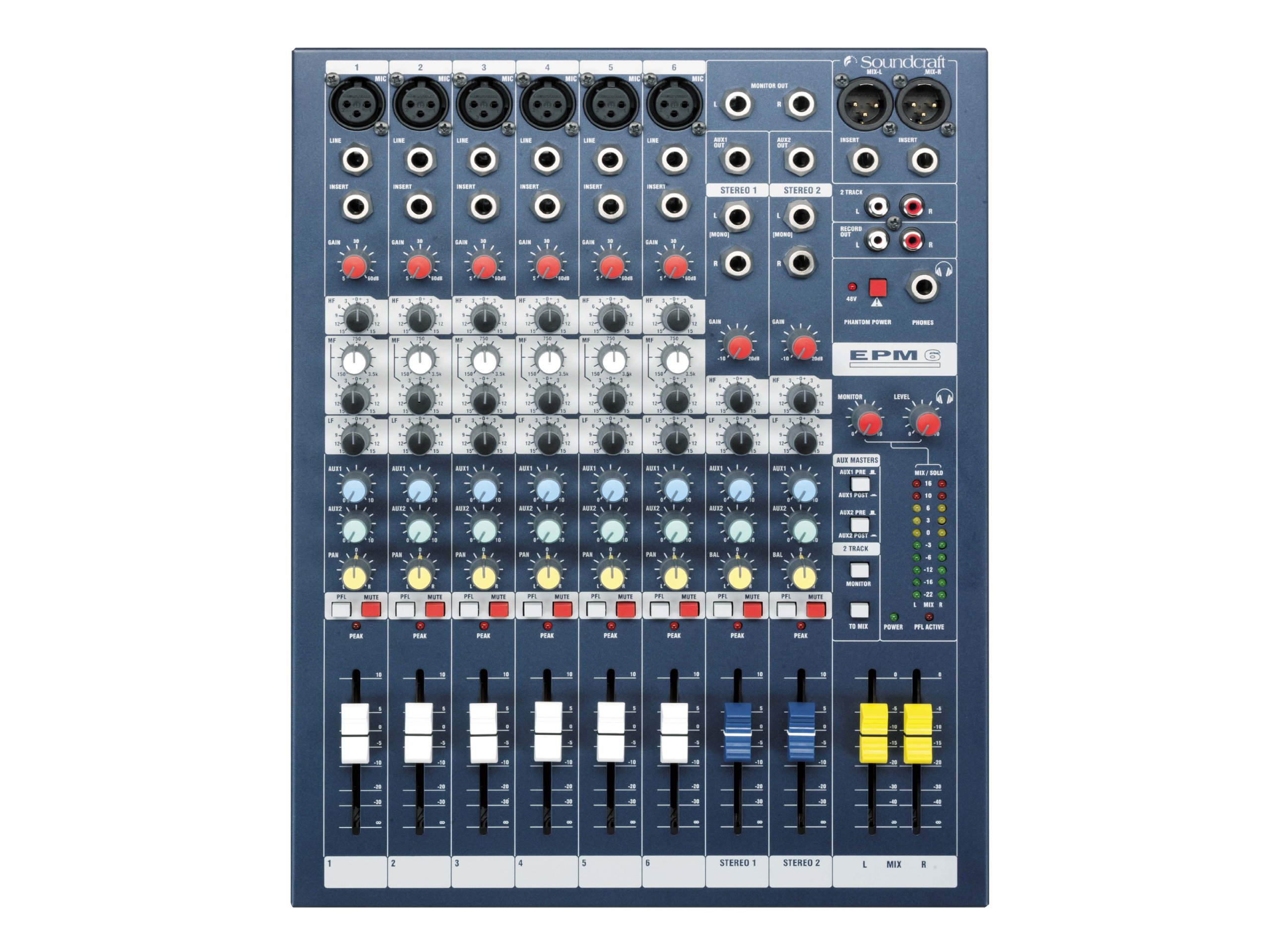 Soundcraft Mixer - Unpowered, 6 + 2 channels (EPM6)