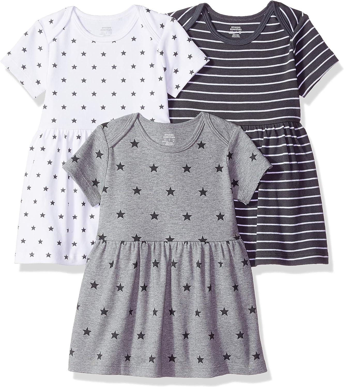 Essentials Baby-Kleid f/ür M/ädchen 3 St/ück