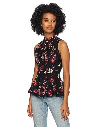 478bb2f45db216 Amazon.com  MILLY Women s Knit Twilight Floral Sleeveless Peplum Flare  Shell Top  Clothing
