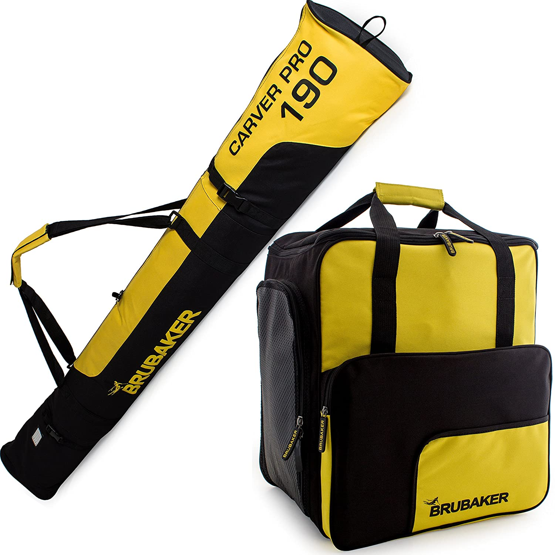 BRUBAKER Conjunto 'Super Function 2.0' Bolsa para botas y Casco de ski junto a 'Carver Pro 2.0' Bolsa para un par de Ski - Amarillo / Negro - 170 cms.