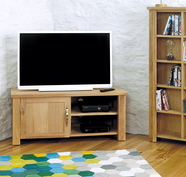 baumhaus aston oak corner television cabinet amazon co uk kitchen home